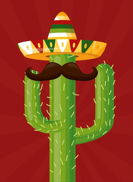 Celebración mexicana con un cactus con bigote y sombrero como ícono de la cultura mexicana vector gratuito
