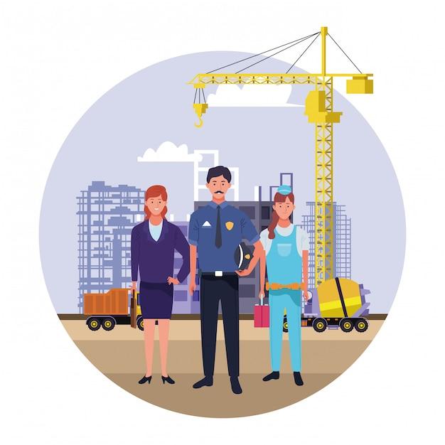 Celebración nacional de la ocupación laboral del día del trabajo, trabajadores profesionales en la construcción de la ciudad frente a ver ilustración Vector Premium
