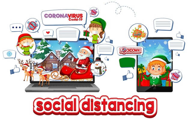 Celebración de navidad online a través de dispositivo móvil vector gratuito
