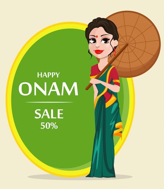 Celebración de onam. mujer india Vector Premium