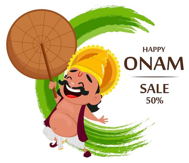 Celebración de onam. rey mahabali Vector Premium