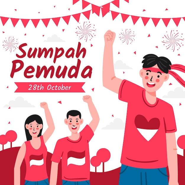Celebración de sumpah pemuda vector gratuito