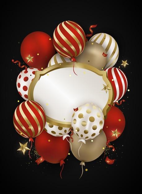 Celebraciones aire globos 3d, confeti, destellos. Vector Premium