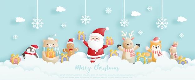 Celebraciones de fondo navideño con santa y amigos, escena navideña en estilo de corte de papel Vector Premium