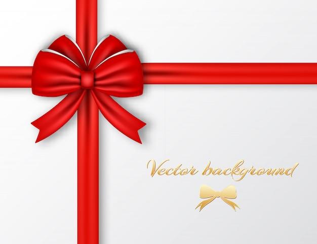Celebrando el cartel de envoltura con lazo de cinta de seda roja en la ilustración de luz vector gratuito