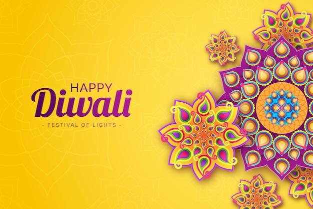 Celebrando diwali en papel vector gratuito