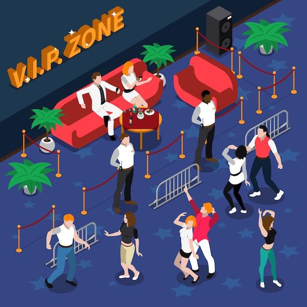 Celebridades en la discoteca isométrica ilustración vector gratuito