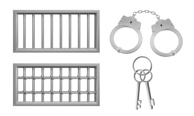 Celosía de acero para ventanas de prisión, esposas y llaves. vector gratuito