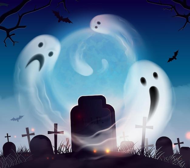 Cementerio fantasma realista composición de paisaje de paisaje de halloween con espeluznantes y divertidos fantasmas flotando sobre el cementerio vector gratuito