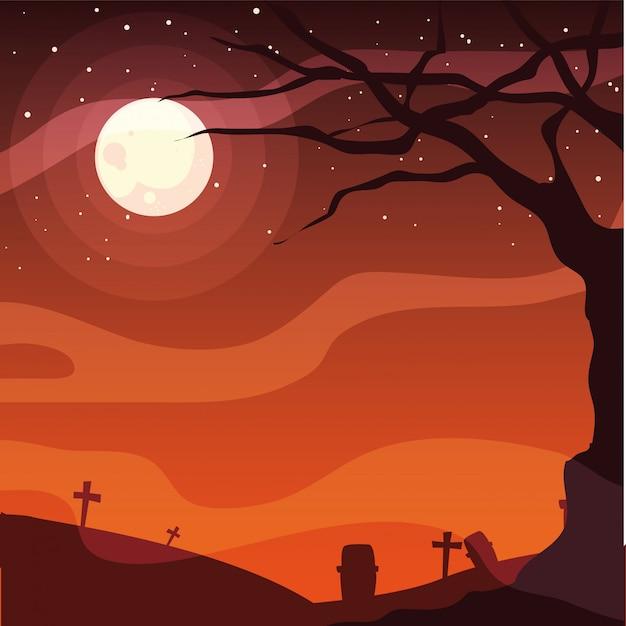 Cementerio feliz celebración de halloween Vector Premium