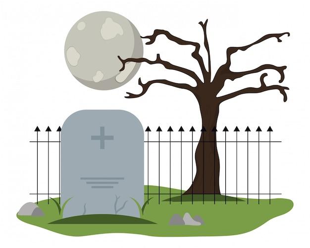 Cementerio de lápida con luna llena Vector Premium