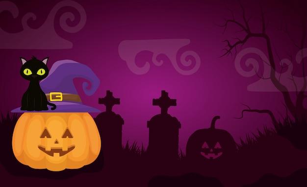Cementerio oscuro de halloween con calabaza vector gratuito