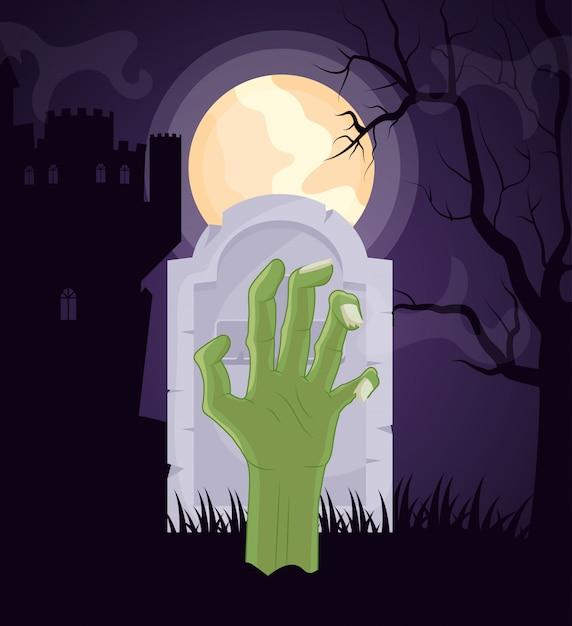 Cementerio oscuro de halloween con mano zombie vector gratuito