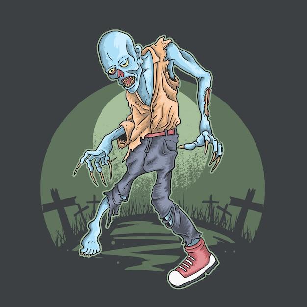 Cementerio zombie walker Vector Premium