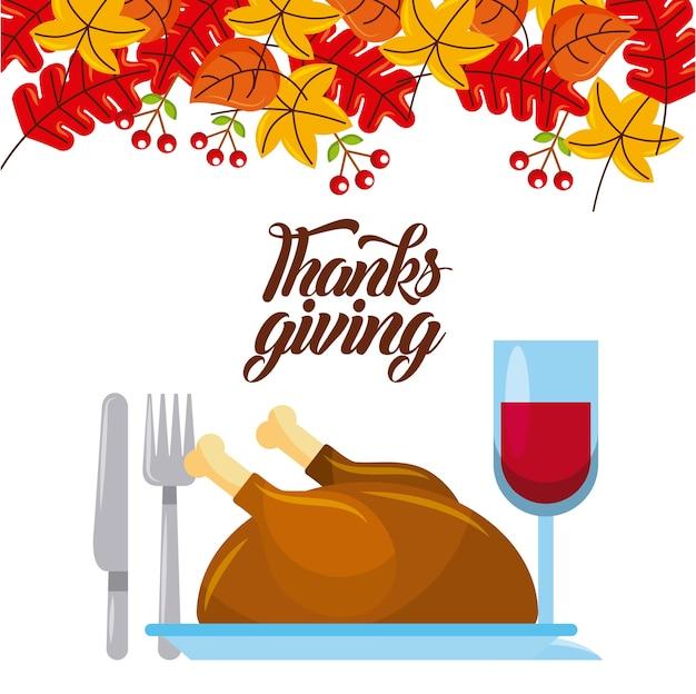 Cena de acción de gracias turquía y vino con decoración de hojas de ...