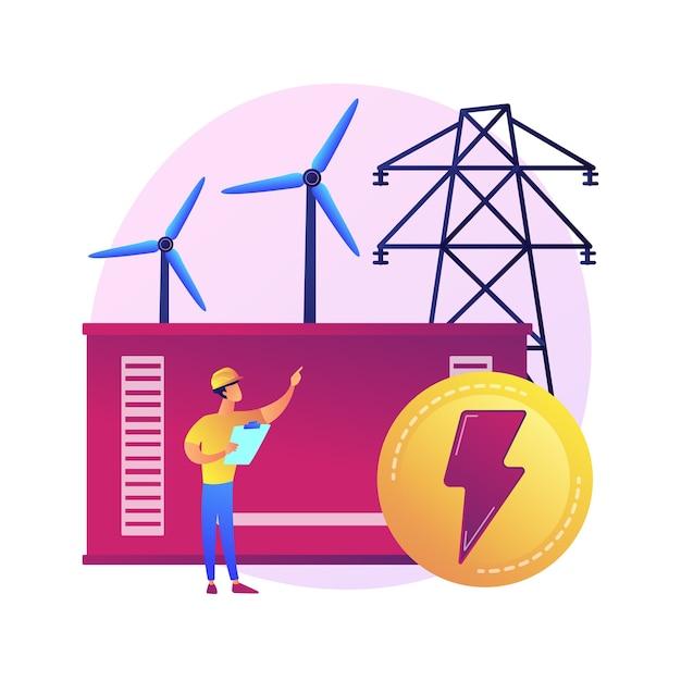 Central eléctrica, generación de energía eléctrica, producción de electricidad. personaje de dibujos animados de ingeniero de energía. industria energética, planta eléctrica. vector gratuito