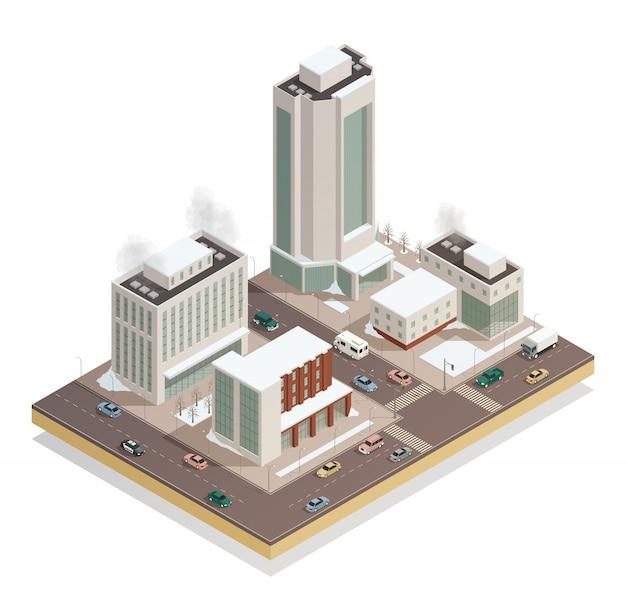 Centro de la ciudad de invierno isométrica vector gratuito