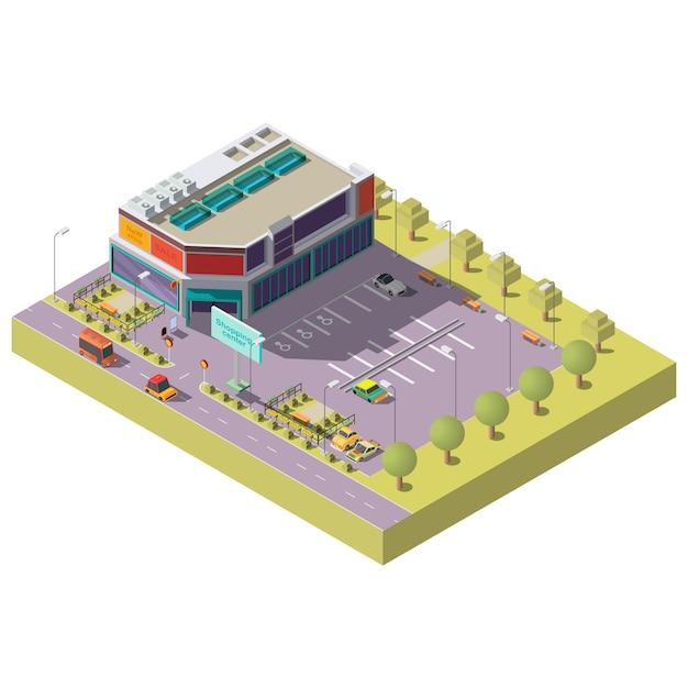 Centro comercial con estacionamiento isométrico. vector gratuito