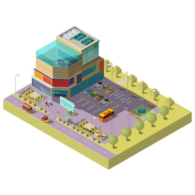 Centro comercial isométrico con zona de aparcamiento. vector gratuito