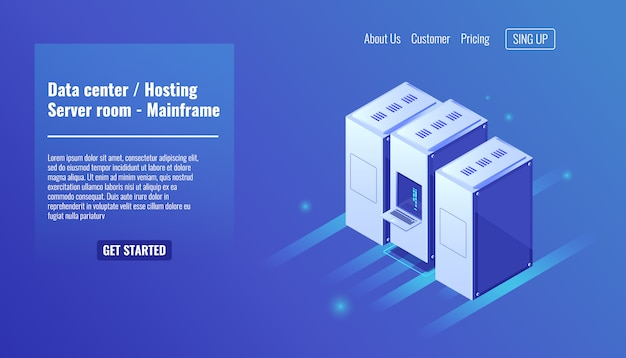 Centro de datos, alojamiento de sitios web, bastidor de la sala de servidores, recurso de mainframe, centro de datos vector gratuito