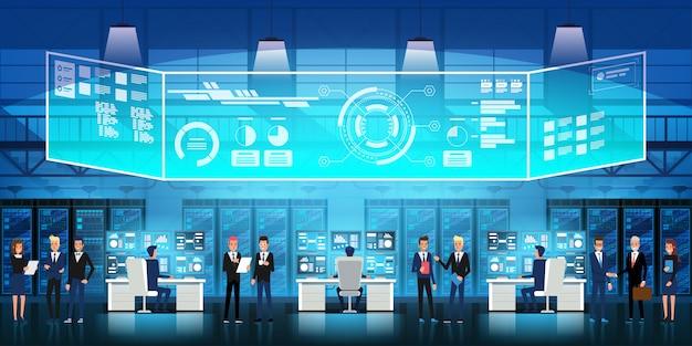 Centro de datos en la nube sala de servidores con personal técnico. diagrama de flujo, racks de servidores e ilustración de pantalla virtual Vector Premium