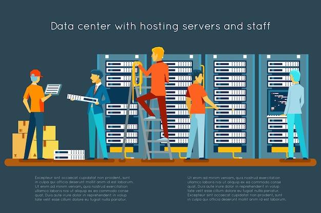 Centro de datos con servidores de alojamiento y personal. tecnología informática, red y base de datos, centro de internet, sala de seguridad de las comunicaciones vector gratuito