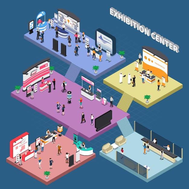 Centro de exposiciones de varios pisos con stands de publicidad corporativa y composición isométrica de visitantes en azul vector gratuito