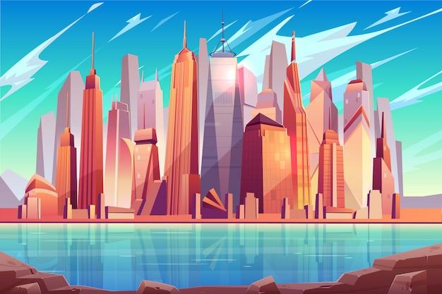 Centro de metrópolis del futuro, fondo de dibujos animados del centro de negocios de la ciudad moderna vector gratuito