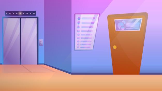 Centro de negocios corredor con ascensor y puerta de oficina, ilustración vectorial Vector Premium