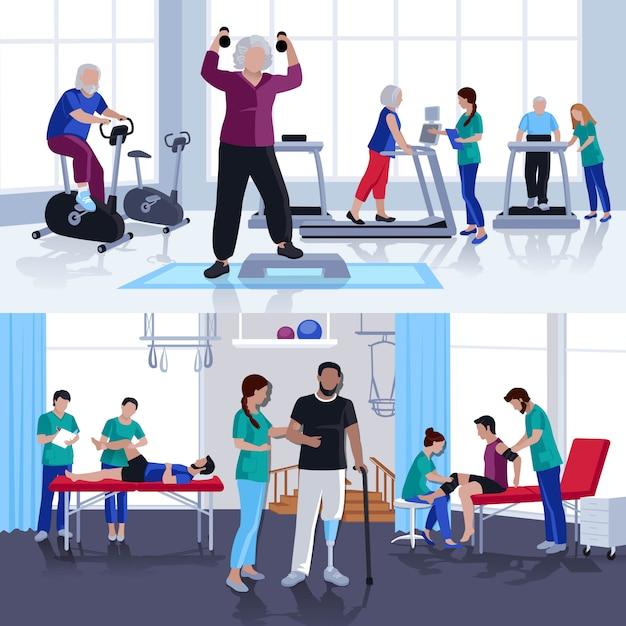Centro de rehabilitación de fisioterapia 2 banners planos. vector gratuito