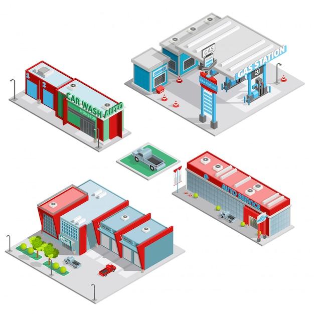 Centro de servicio de automóviles edificios composición isométrica vector gratuito