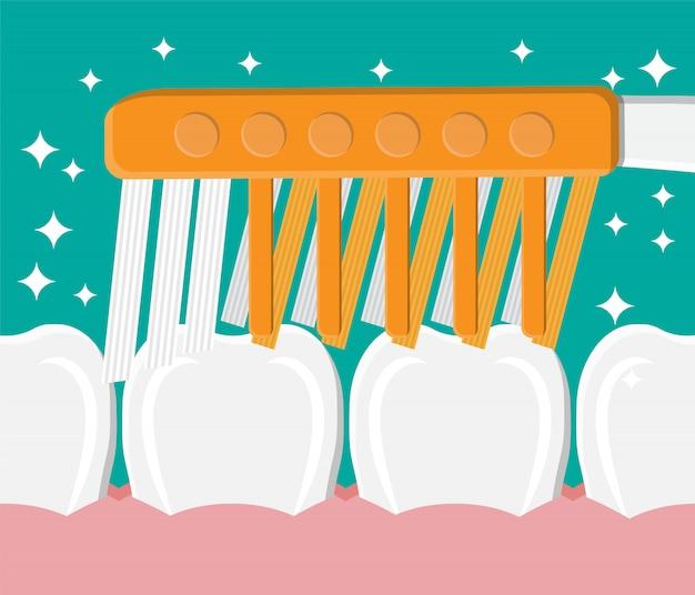 El cepillo de dientes limpia los dientes. lavando los dientes. Vector Premium