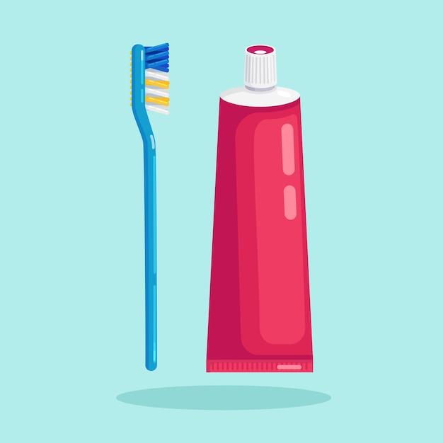 Cepillo de dientes y pasta de dientes para cepillar los dientes. cuidado dental Vector Premium