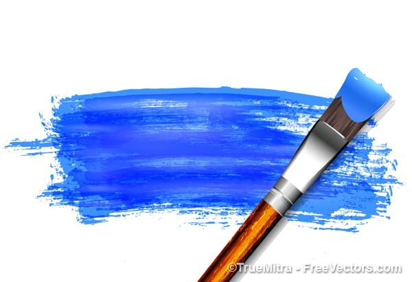 Cepillo de pintura azul sobre papel vector gratuito