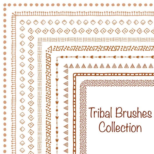 Cepillo tribal conjunto Vector Premium