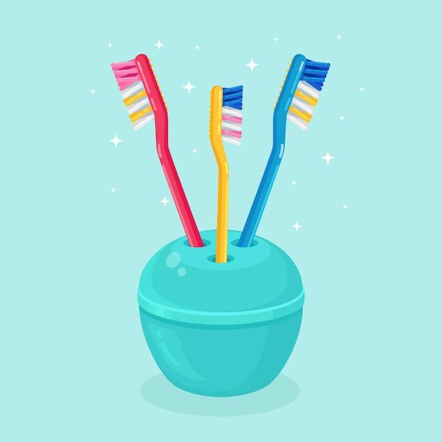 Cepillos de dientes para cepillar los dientes. cuidado dental Vector Premium
