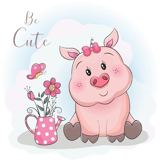 Cerdo de dibujos animados lindo y flor con fondo de cielo Vector Premium