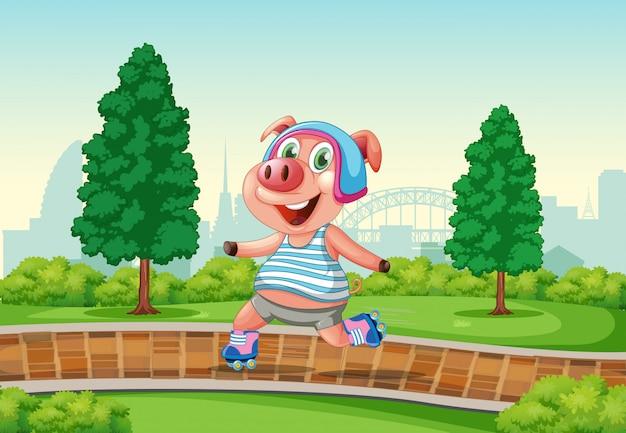 Cerdo feliz jugando patines en el parque vector gratuito