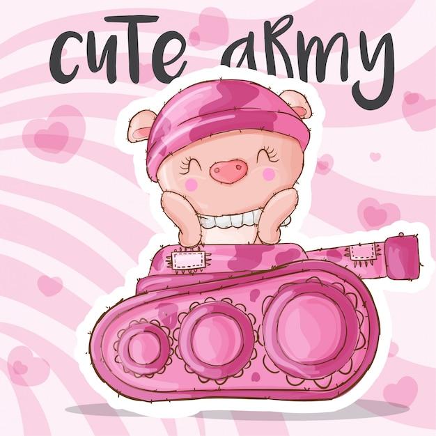 Cerdo lindo animal militar Vector Premium