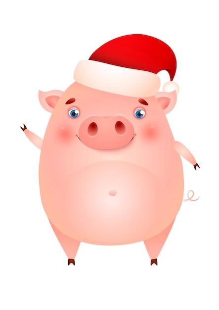 Cerdo lindo divertido en el sombrero de santa agitando la pezuña vector gratuito