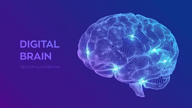 Cerebro digital concepto de ciencia y tecnología 3d. red neuronal. pruebas de coeficiente intelectual, inteligencia artificial Vector Premium