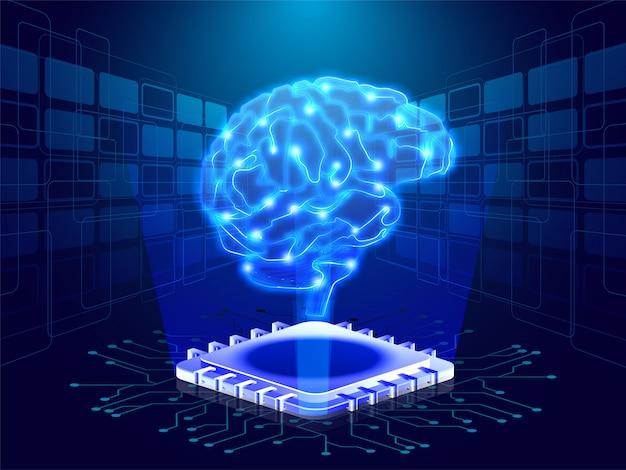 Cerebro humano en rayos emergentes digitales Vector Premium
