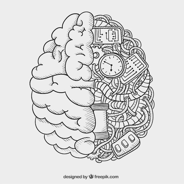 Cerebro mecánico vector gratuito