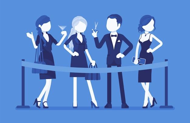 Ceremonia de corte de cinta roja. grupo de jóvenes elegantes en el evento oficial de apertura, inicio de nuevos negocios, ocasión pública formal, inicio de fiesta festiva ilustración con personajes sin rostro Vector Premium