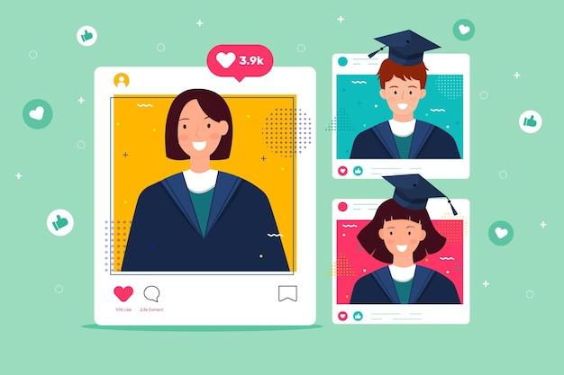 Ceremonia de graduación en plataforma en línea vector gratuito