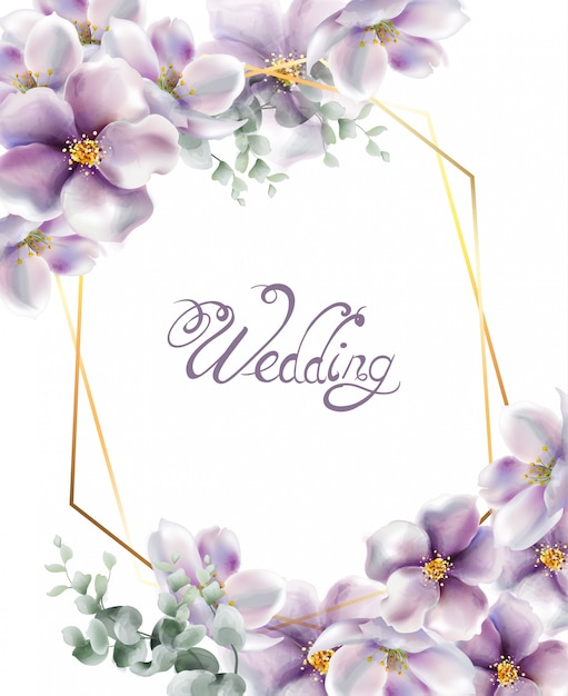 Cereza flores acuarela tarjeta de boda Vector Premium