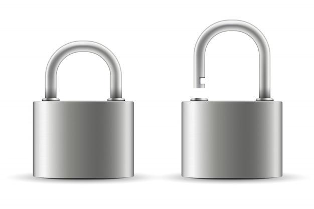 Cerradura de acero metal. Vector Premium