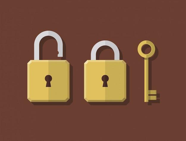 Cerradura de estilo plano abstracto y llave s Vector Premium
