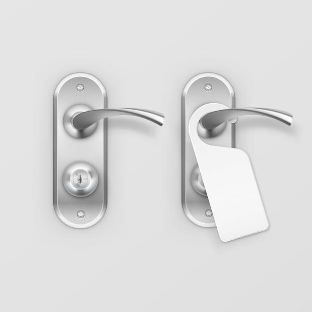 Cerradura de manija de puerta metálica con percha en el fondo Vector Premium