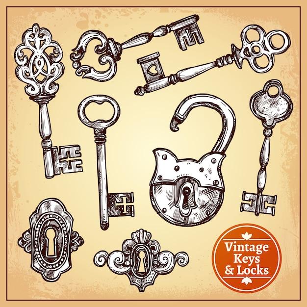 Cerraduras y llaves vector gratuito